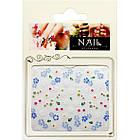 3D Наклейки для Ногтей Самоклеющиеся Nail Sticrer HSC030 Цветы Белые, Голубые Дизайн Ногтей, Слайдер Дизайн, фото 2