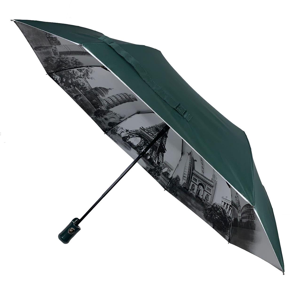 Женский зонтик полуавтомат МАХ с узором изнутри и тефлоновой пропиткой, темно-зеленый, 480-3
