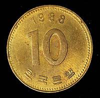 Монета Южной Кореи 10 вон 1988 г., фото 1