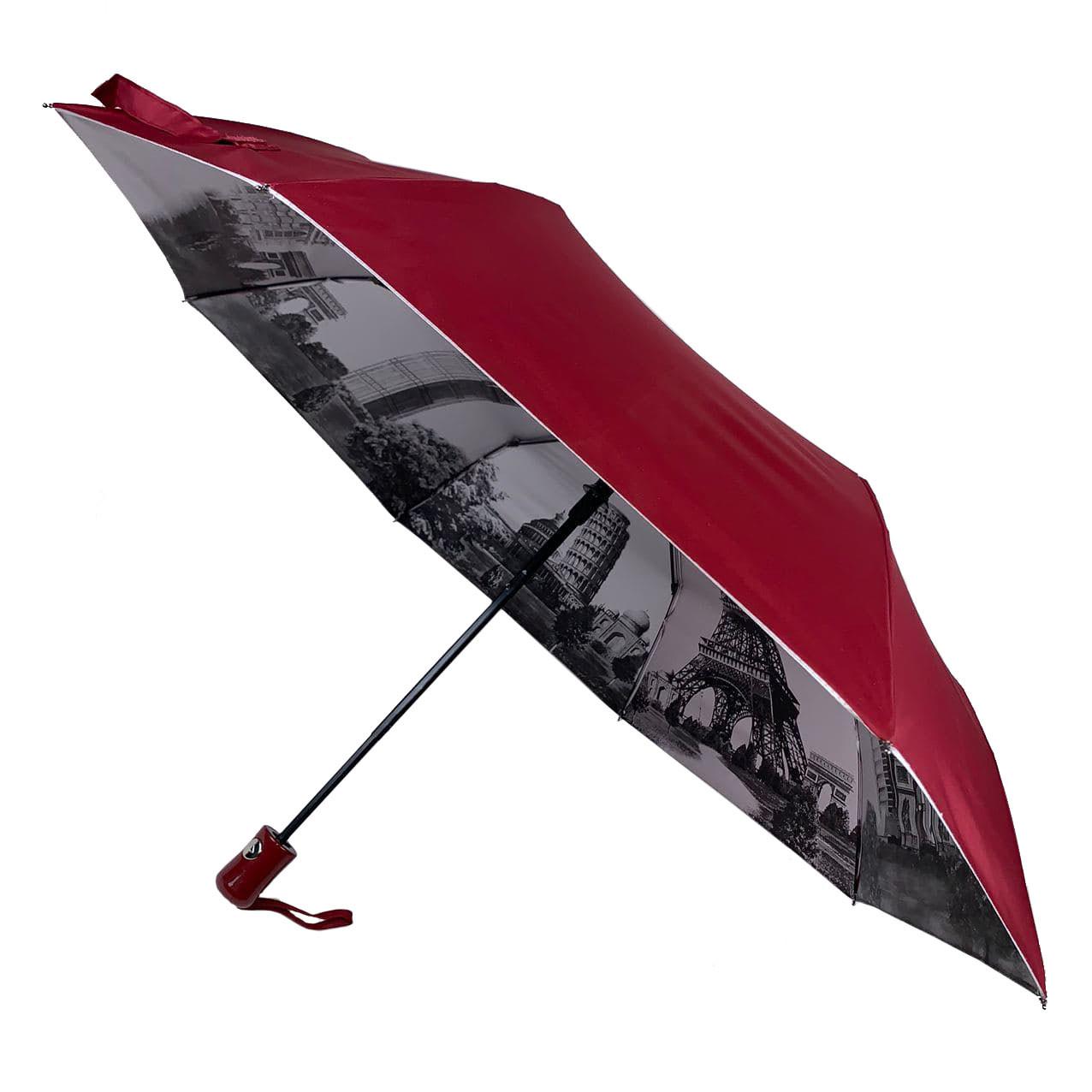 Женский зонтик полуавтомат МАХ с узором изнутри и тефлоновой пропиткой, бордовый, 480-4