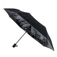 Женский зонтик полуавтомат МАХ с узором изнутри и тефлоновой пропиткой, черный, 480-6, фото 1