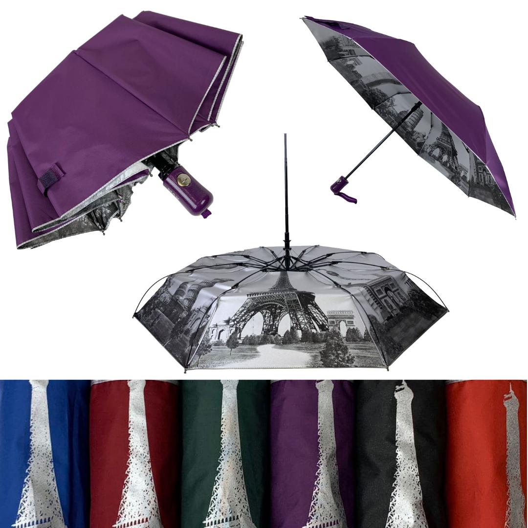 Женский зонтик полуавтомат МАХ с узором изнутри и тефлоновой пропиткой, 480