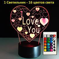 3D Светильник *I Love You*, Подарок любимой женщине девушке, Подарунок коханій жінці дівчині