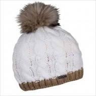 Женская вязанная шапка с меховым пампоном
