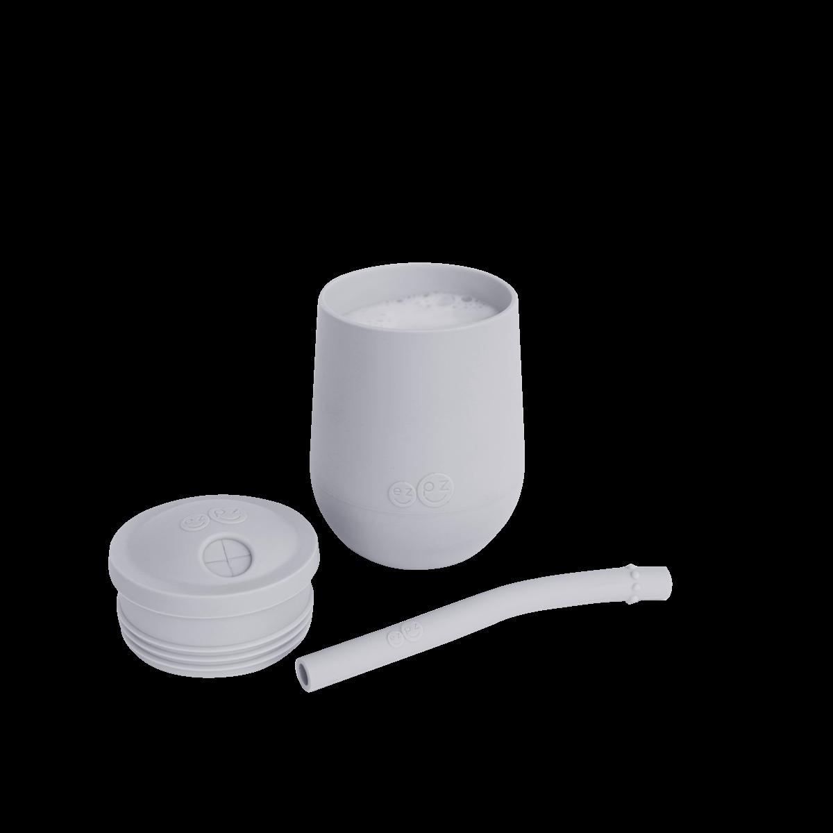 Чашка в наборі з кришкою і соломинкою сіра