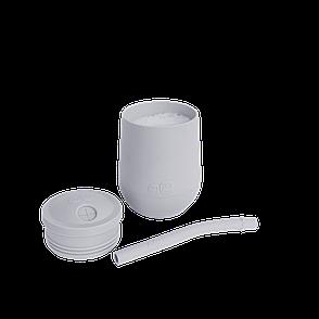 Чашка в наборі з кришкою і соломинкою сіра, фото 2