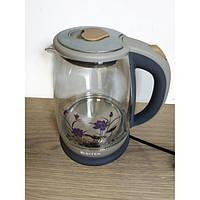 Електро чайник ВІТЕК ВТ-3111 2400W 1,8 L скло з підсвічуванням Сірий, фото 1