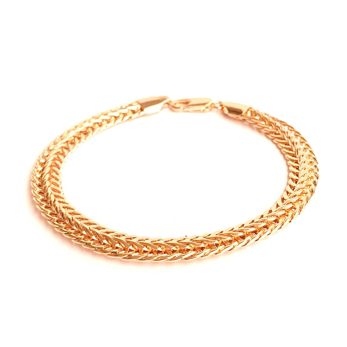 """Браслет """"Двойной колос"""" SONATA из медицинского золота, позолота РО, 52063             (21 см)"""