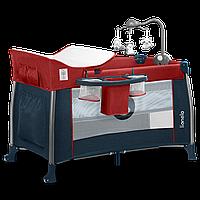 Кроватка-манеж 2 в 1 Lionelo THOMI RED BURGUNDY BLUE