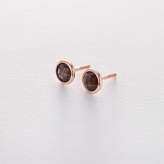 Золотые серьги-гвоздики с дымчатым кварцем гс05195
