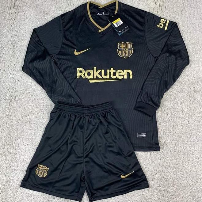 Футбольная форма Барселона длинный рукав черная сезон 2020-21