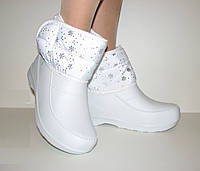 Зимние женские белые сапоги пенка ЭВА на липучке размер 40 Украина