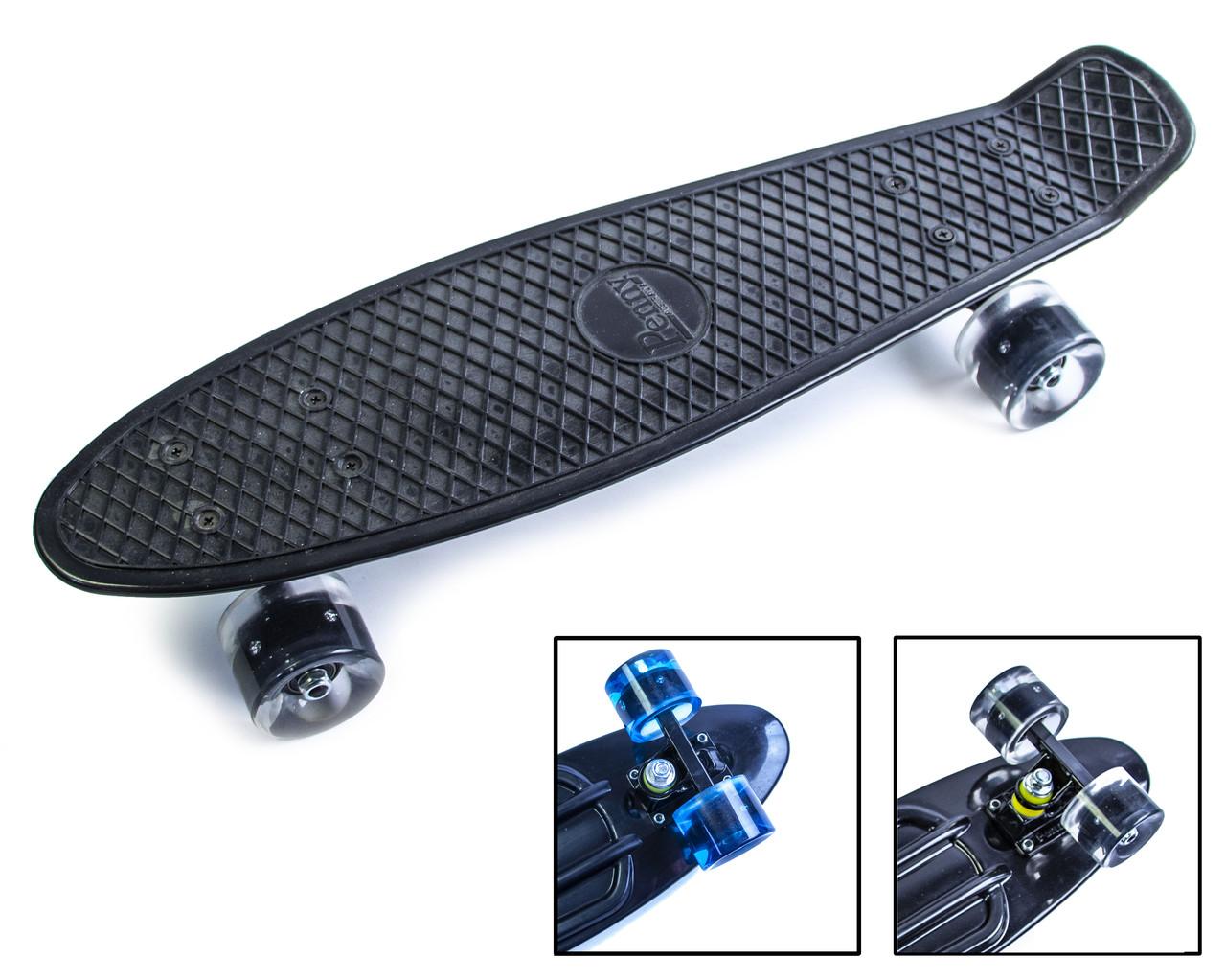 Детский скейт пенниборд Penny Australia Черный, Светящиеся колеса