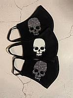 Черная тканевая маска (защитная многоразовая маска дли лица с рисунком), фото 1