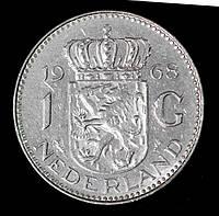 Монета Нидерландов 1 гульден 1968 г. Королева Юлиана, фото 1