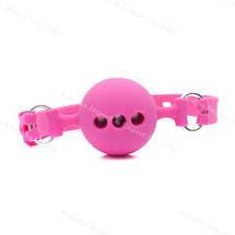 Кляп шар силиконовый дышащий Cherry Gag БДСМ черный розовый, фото 2