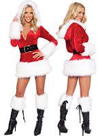 """Новогодний игровой костюм для взрослых """"Крутая Снегурка"""" (белый и черный мех)"""
