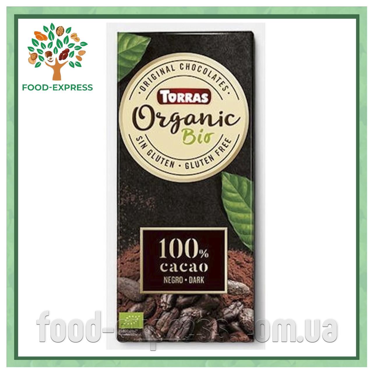 Шоколад 100% какао Torras Organic без сахара, 100 г
