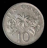 Монета Сингапура 10 центов 1986 г., фото 1