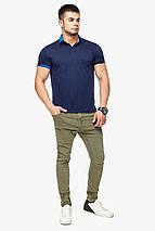 Брендовий футболка поло чоловіча колір темно-синій-блакитний модель 6073 розмір 50 (L), фото 2