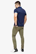 Брендовий футболка поло чоловіча колір темно-синій-блакитний модель 6073 розмір 50 (L), фото 3