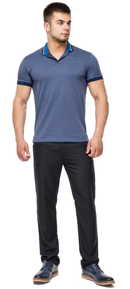 Фірмова футболка поло чоловіча колір джинс модель 6422 розмір 48 (M)