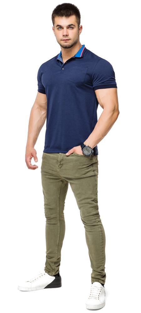 Дизайнерська футболка поло чоловіча колір темно-синій-блакитний модель 6422 розмір 50 (L)