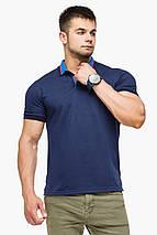 Дизайнерська футболка поло чоловіча колір темно-синій-блакитний модель 6422 розмір 50 (L), фото 3