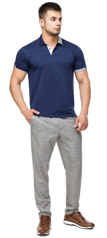 Футболка поло чоловіча стильна колір темно-синій-сірий модель 6990 розмір 56 (3XL)