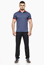 Фабричная футболка поло мужская цвет джинс модель 6618 (ОСТАЛСЯ ТОЛЬКО 56(3XL)), фото 2
