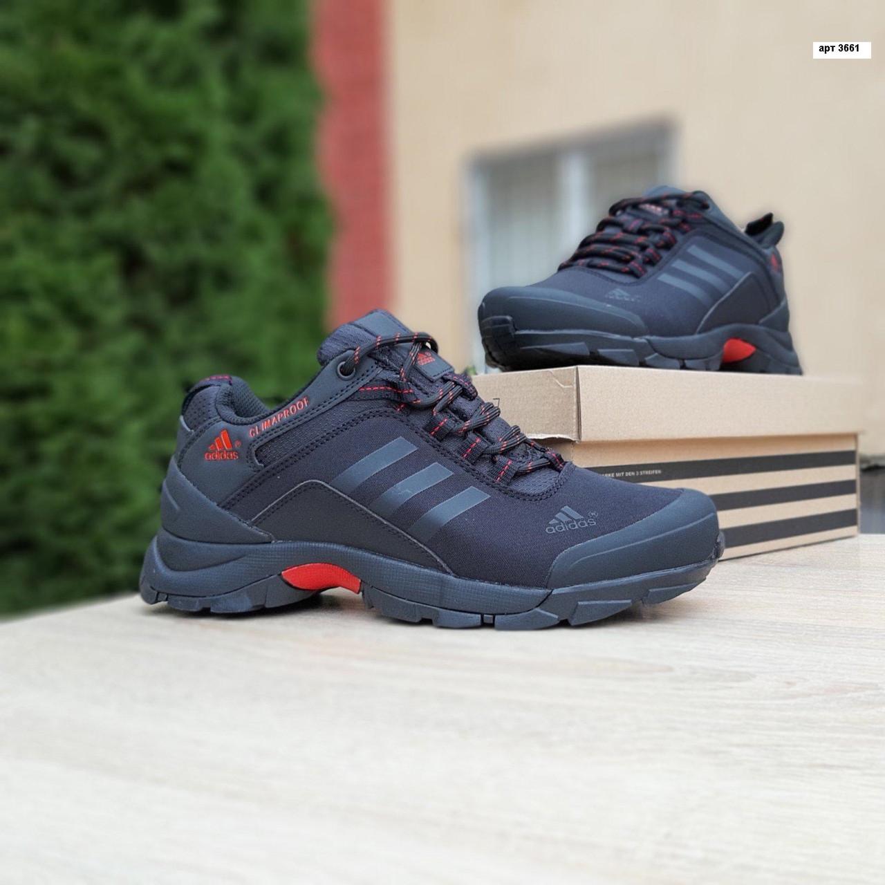 Мужские зимние кроссовки Adidas Climaproof (черно-красные) 3661