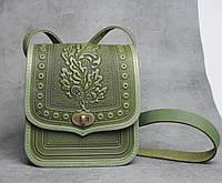 Женская кожаная сумка ручной работы (метод горячего тиснения), оливковая сумка 'Дубок', фото 1
