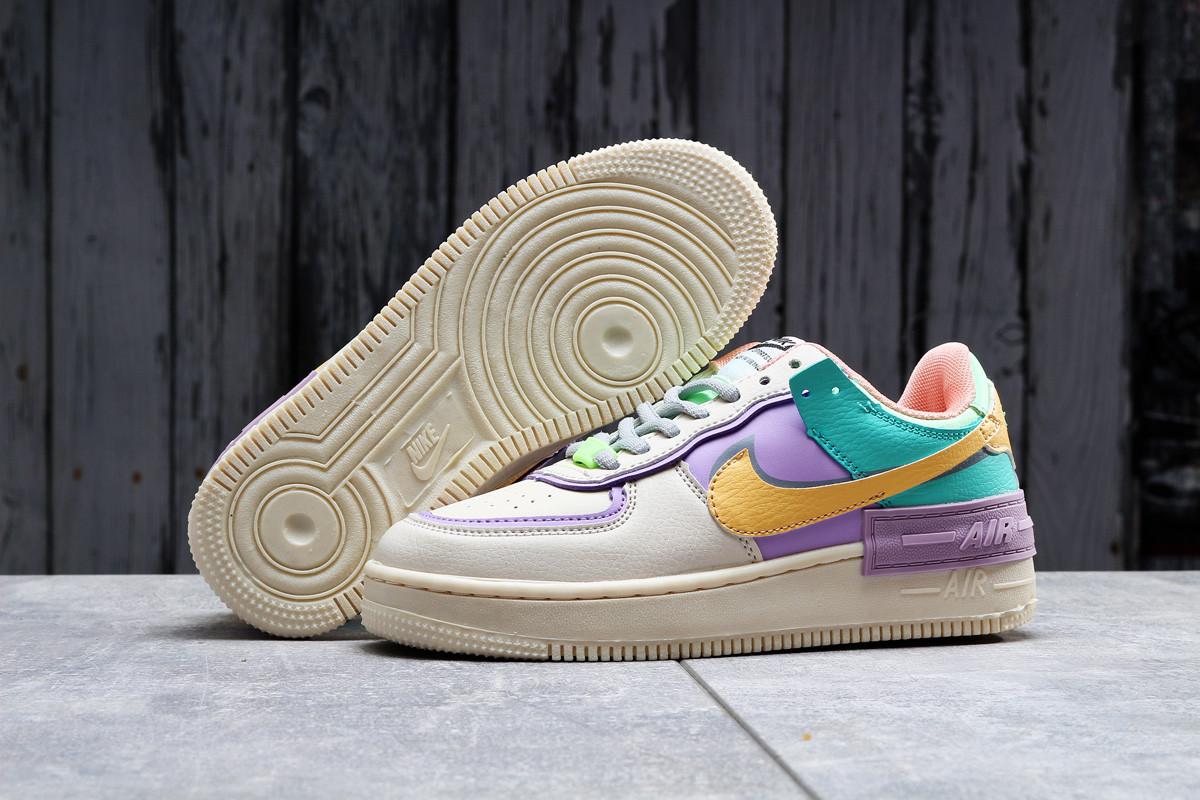 Кроссовки женские 20022, Nike Air Force 1, бежевые, [ 36 37 ] р. 36-22,5см.