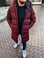 Пуховик куртка мужская зимняя бордовая теплая с капюшоном удлиненная