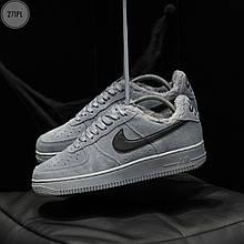 Мужские зимние кроссовки Nike Air Force Low Grey Winter (серо-черные) 271TP
