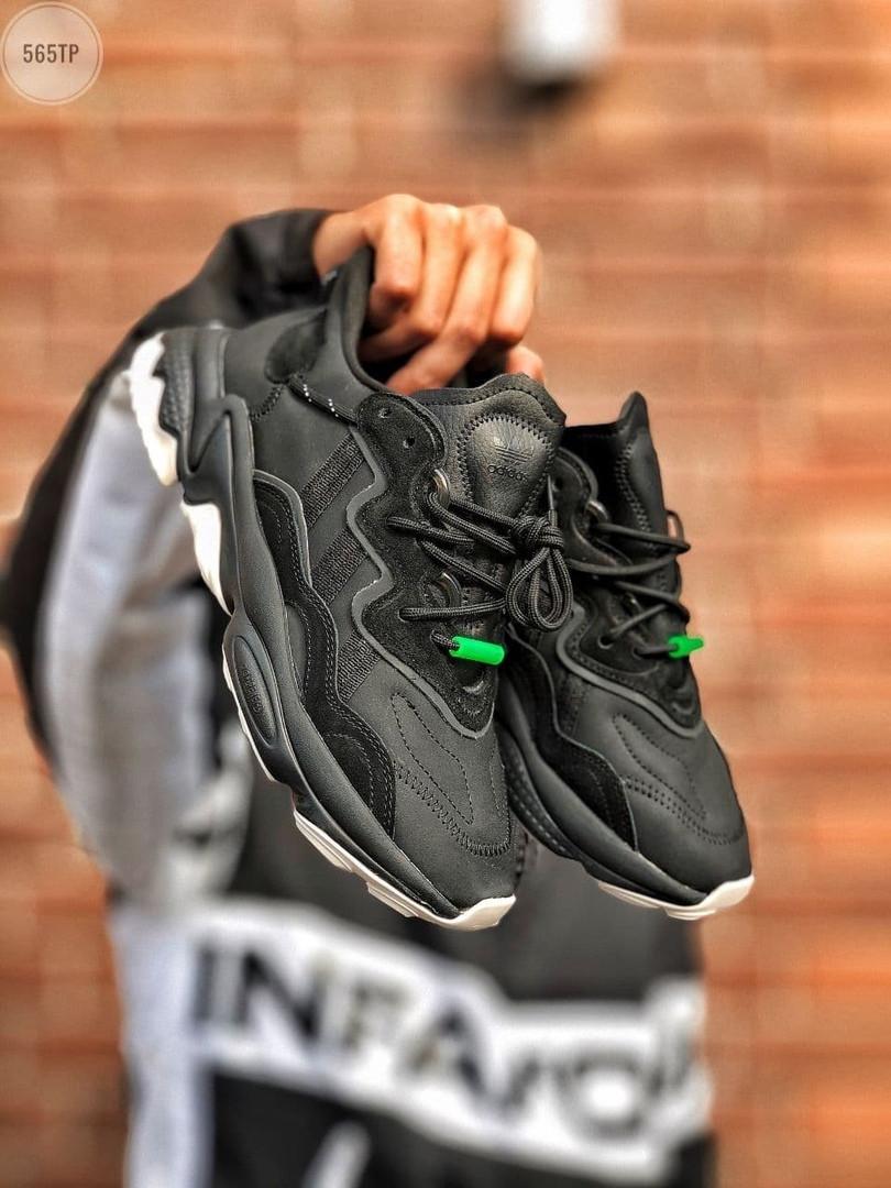 Мужские кроссовки Adidas Ozweego Black Leather (черные) 565TP