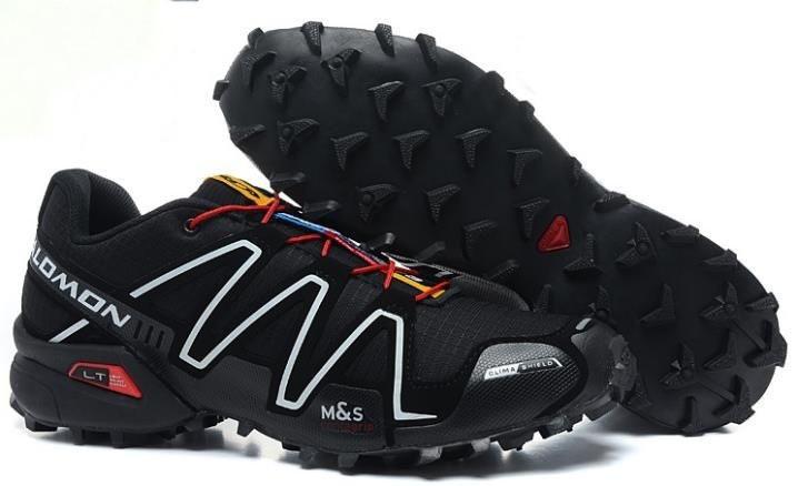 Мужские кроссовки Salomon Speedcross 3 (черно-белые с красным) 10135