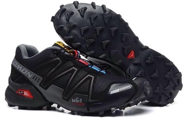 Мужские кроссовки Salomon Speedcross 3 (черно-серые) 10138