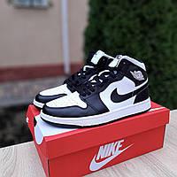 Мужские кроссовки Nike Air Jordan 1 Retro High (бело-черные) 10318