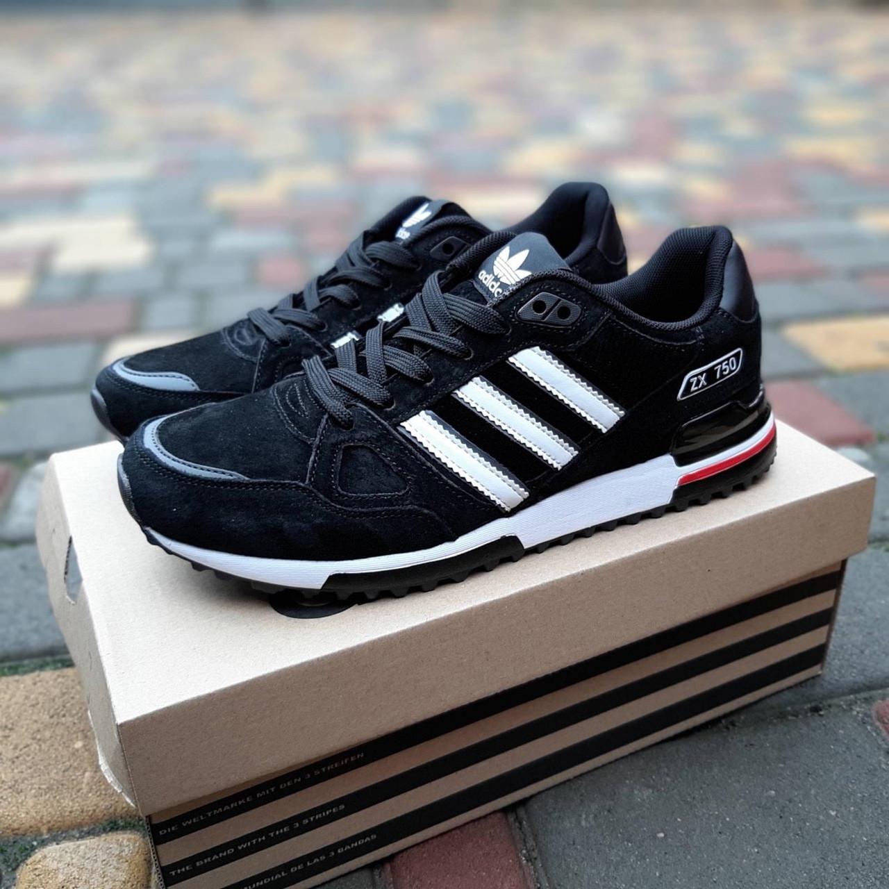 Мужские кроссовки Adidas ZX 750 (черно-белые с красным) 10320