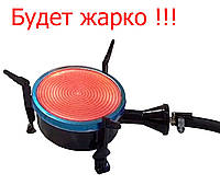 Портативна газова плита-обігрівач Happy Home з керамічним пальником 10 см (ІК) з перехідником