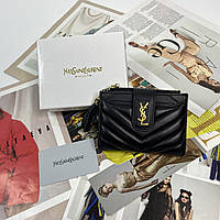 Женский кожаный маленький раскладной кошелек на кнопке Yves Saint Laurent YSL реплика