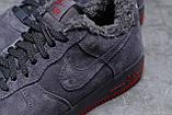 Зимние мужские кроссовки 31732, Nike Air AF1 (мех), темно-серые, [ 42 43 44 ] р. 42-26,5см., фото 6