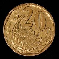 Монета Южной Африки 20 центов 2008 г., фото 1