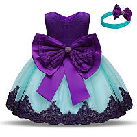 """Праздничное шикарное платье для девочки на годик """"Кэтти"""" бирюзовое с фиолетовым"""