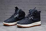 Зимние женские кроссовки 31464, Nike Air AF1 (мех), темно-синие, [ нет в наличии ] р. 38-24,5см., фото 2