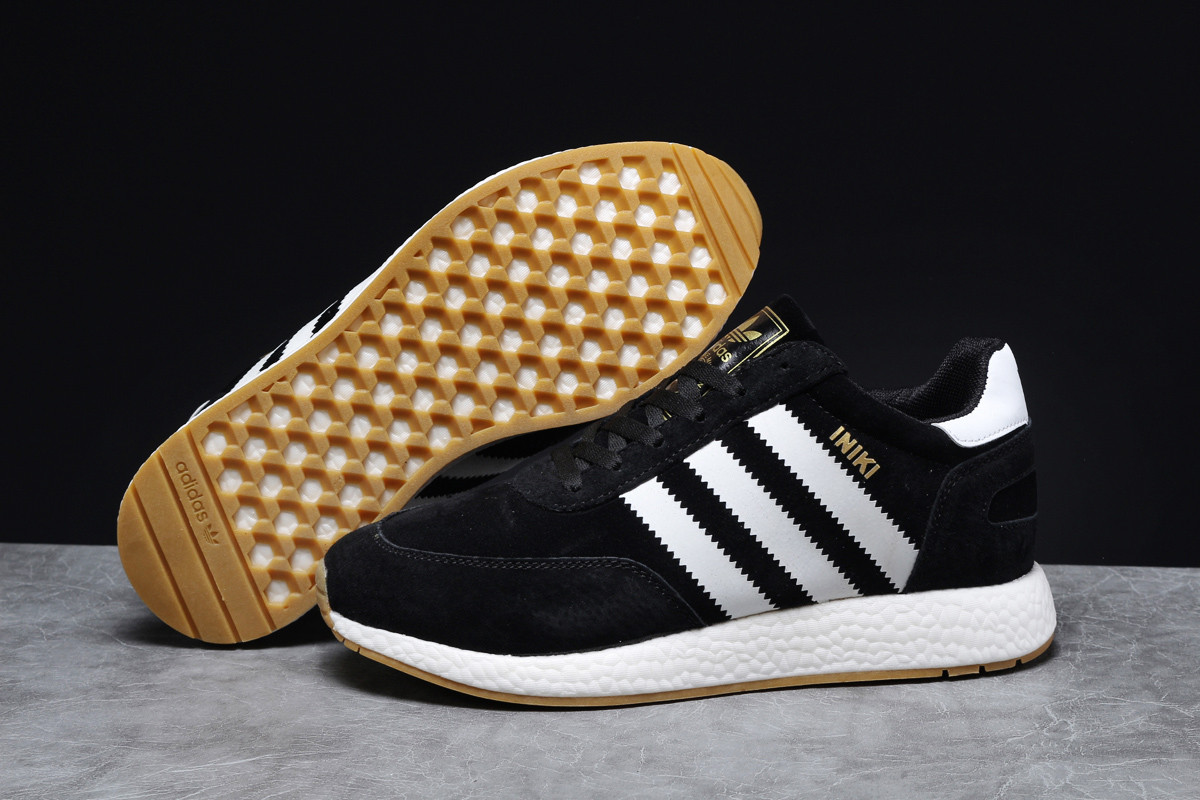 Зимние мужские кроссовки 31662, Adidas Iniki, черные, [ 41 ] р. 41-25,3см.