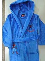 Халат подростковый махровый Спайдермен голубой, фото 1