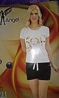 Женский комплект.Турция,отличного качества.95%cotton.футболка,белая,шорты черные.р:S/M.