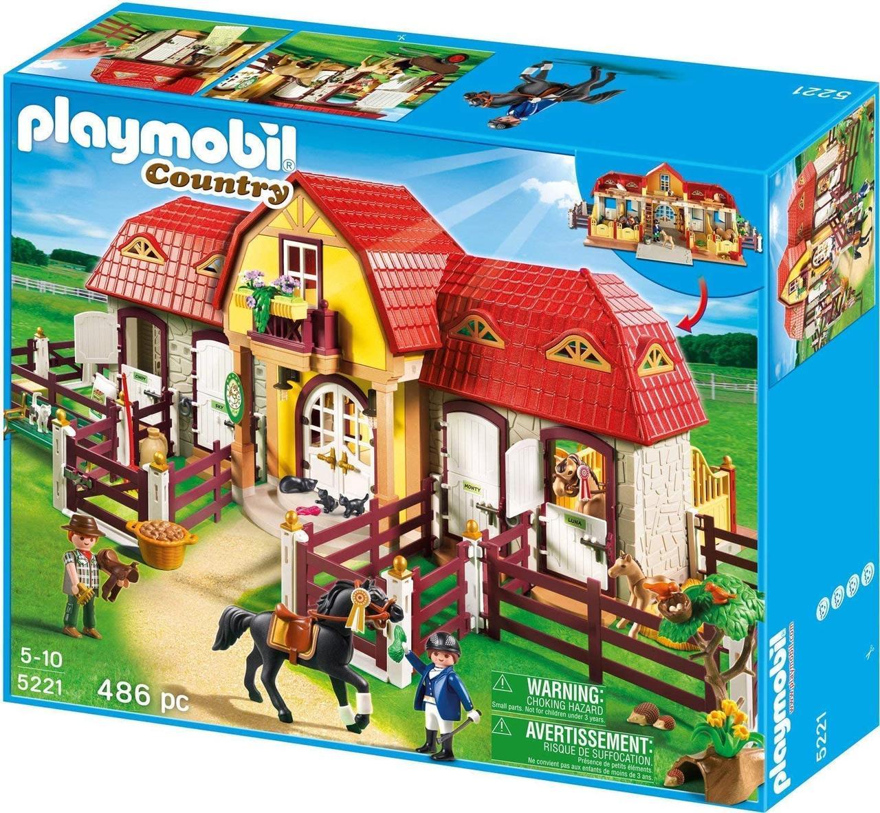 Плеймобил Конный завод с лошадьми и загоном  Playmobil Country Large Toy Set with Paddocks 5221